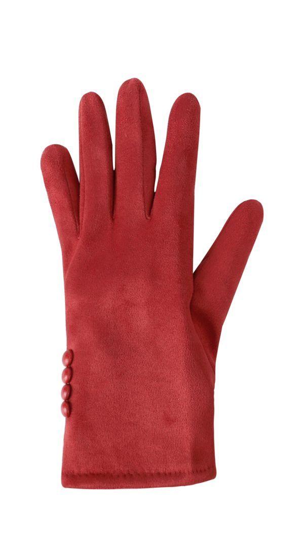 Guantes de antelina con botones. Rojo
