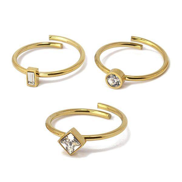 Triple anillo ajustable con cristales. Acero. Blanco