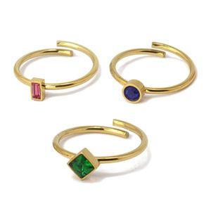 Triple anillo ajustable con cristales. Acero. Verde-fuxia-azul marino