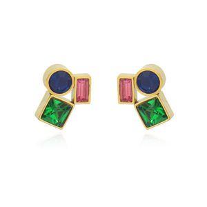 Pendientes de acero con tres cristales. Multicolor verde, fuxia y azul