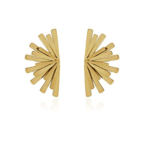 Pendientes de acero con forma de abanico. Dorado