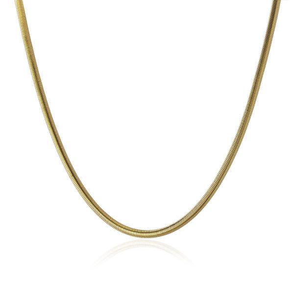 Gargantilla snake de acero bañado en oro