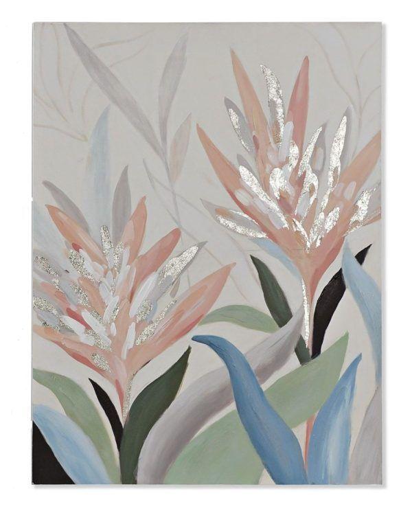 Cuadro motivos florales colores pastel. Sin flor
