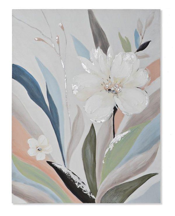 Cuadro motivos florales colores pastel. Con flores