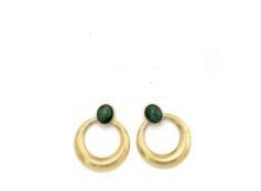 Pendientes de botón con círculo colgando. Verde con dorado