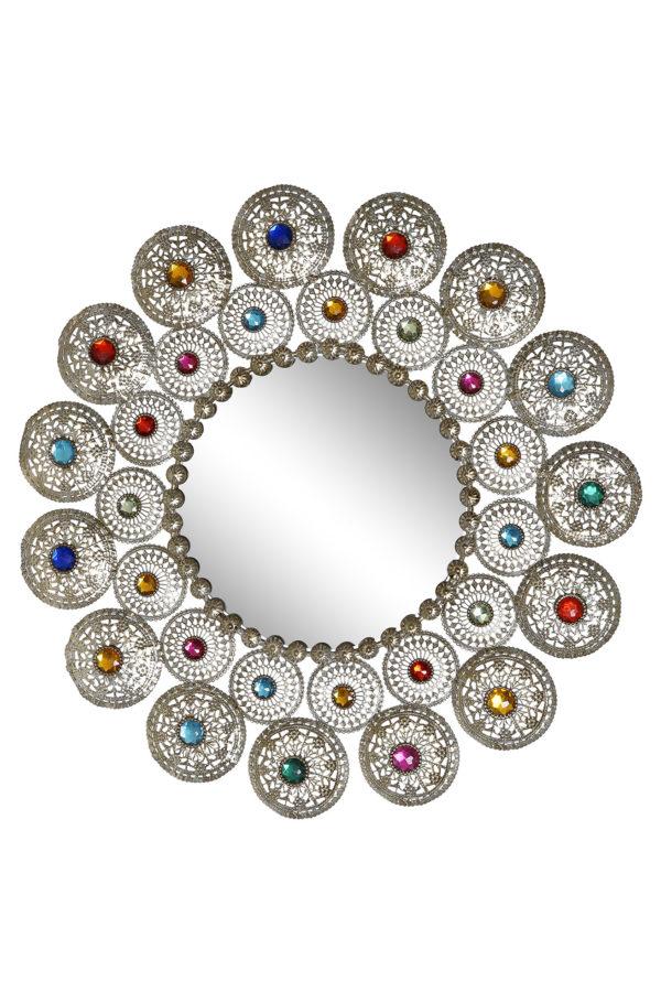 Espejo de metal troquelado con piedras de colores