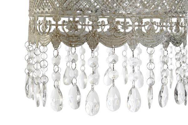 Lámpara de techo celosía metálica con colgantes. Detalle colgantes