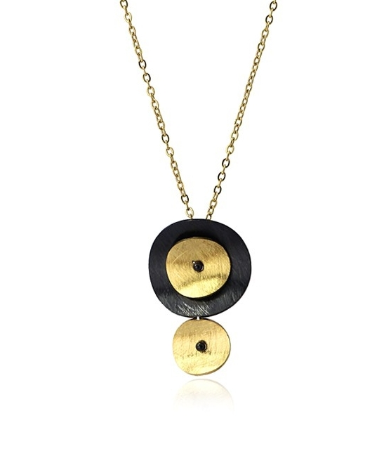 Gargantilla de acero con círculos concavos. Oro-negro