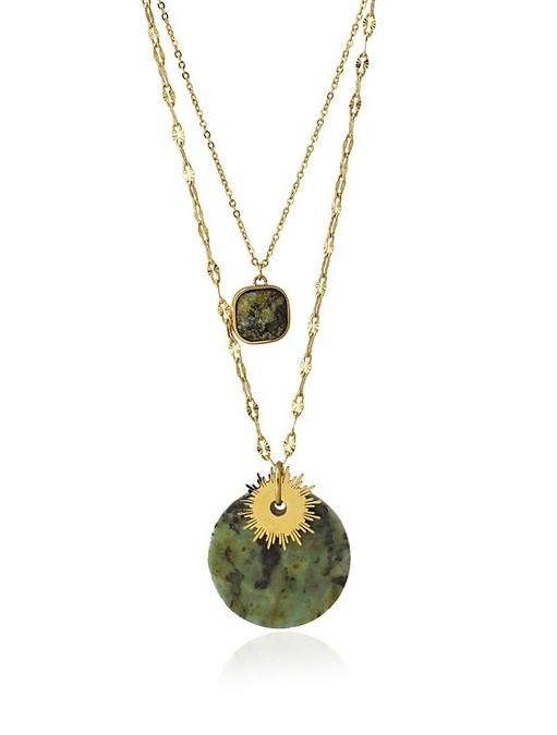 Gargantilla doble de acero con piedra natural. Verde