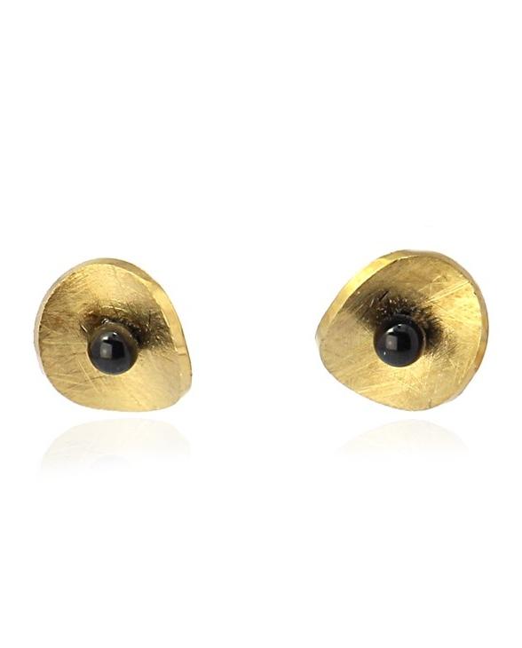 Pendientes pegados con disco concavo. Oro-negro