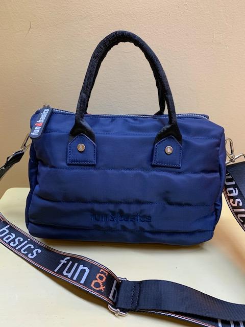 Bolso de mano y colgar en nylon. Fun&Basic. Azul