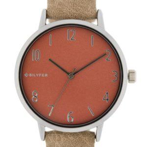 Reloj analógico con esfera rosa y correa de piel taupe