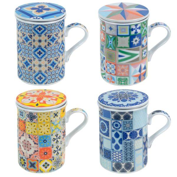 Mug de porcelana con filtro de acero para té
