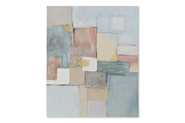 Cuadro abstracto de pintura sobre lienzo en tonos azules y rosas. En vertical