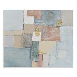Cuadro abstracto de pintura sobre lienzo en tonos azules y rosas