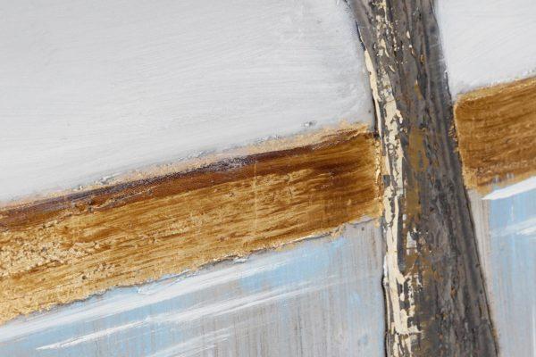 Cuadro de pintura sobre lienzo con paisaje y árbol. Detalle horizonte