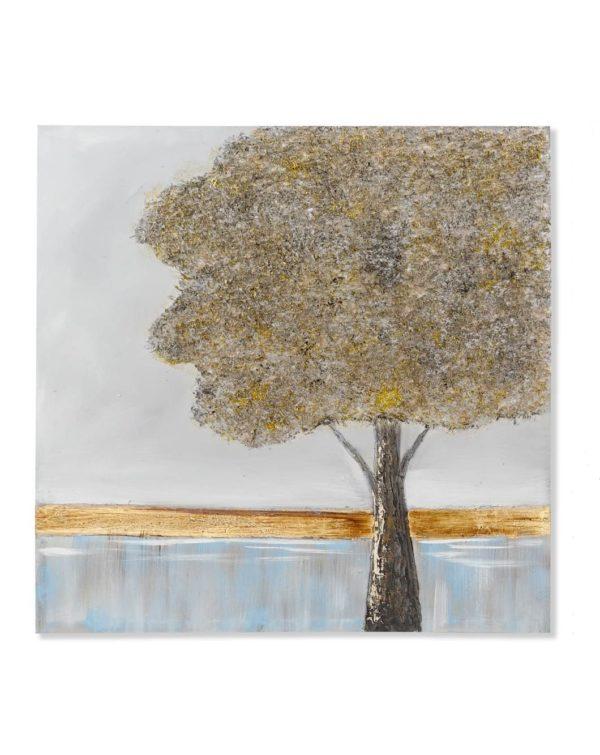 Cuadro de pintura sobre lienzo con paisaje y árbol. Árbol a la derecha