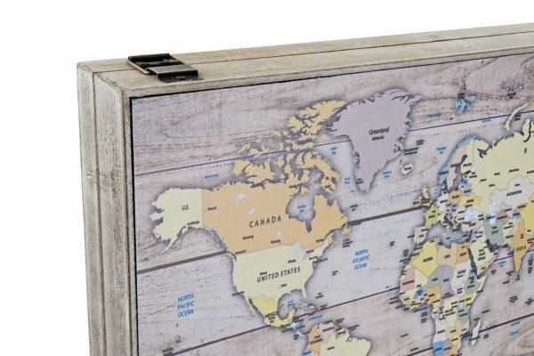 Tapa contador con mapamundi para el cuadro de luces. Detalle de bisagra y caja
