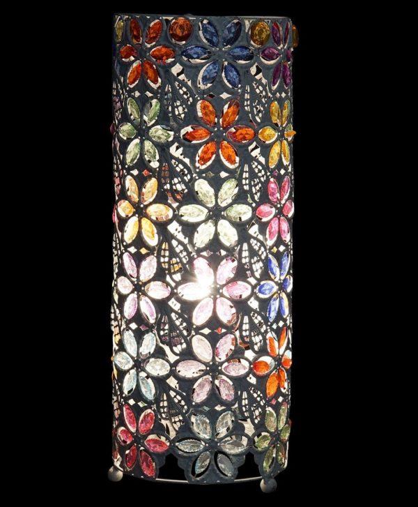 Lámpara cilíndrica en metal blanco y multicolor. Encendida