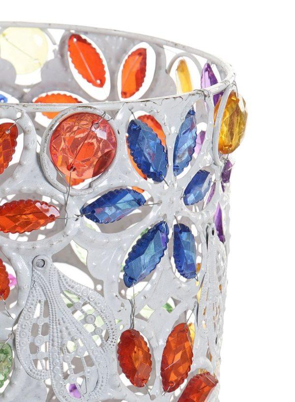 Lámpara cilíndrica en metal blanco y multicolor. Detalle parte superior