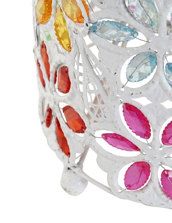 Lámpara cilíndrica en metal blanco y multicolor. Detalle parte inferior