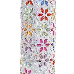 Lámpara cilíndrica en metal blanco y multicolor