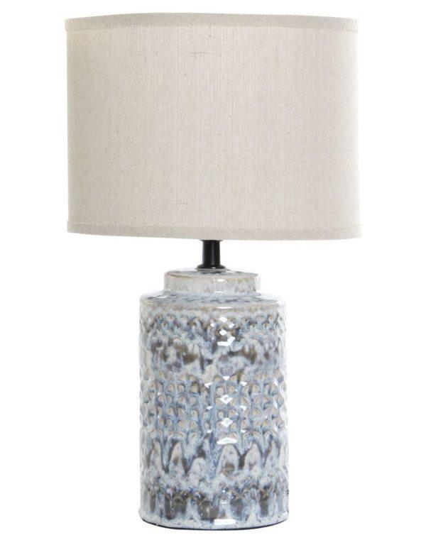Lámpara de porcelana con pantalla cilíndrica. Pie flores