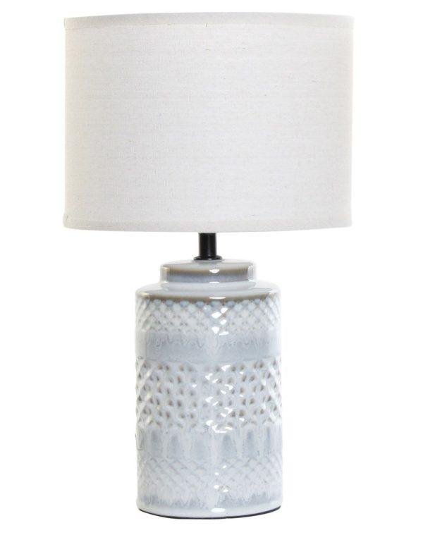 Lámpara de porcelana con pantalla cilíndrica. Pie rombos