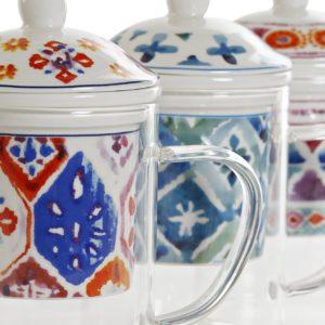 Mug para infusiones de cristal y porcelana con dibujo colorido