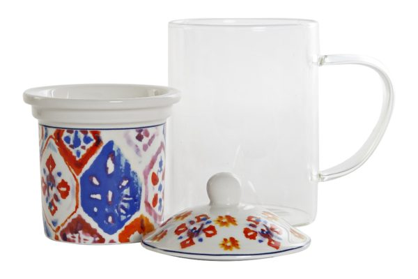 Mug para infusiones de cristal y porcelana con dibujo colorido. Vista desmontado