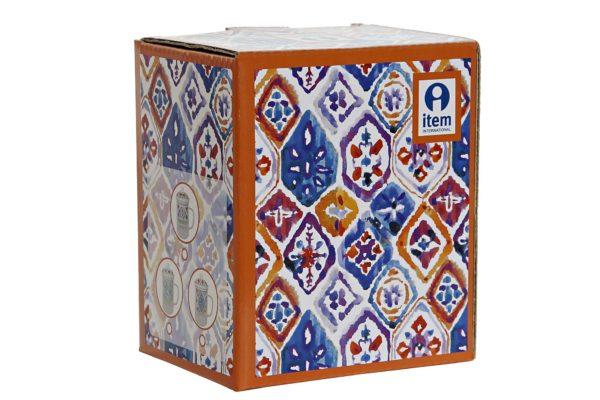 Mug para infusiones de cristal y porcelana con dibujo colorido. Caja