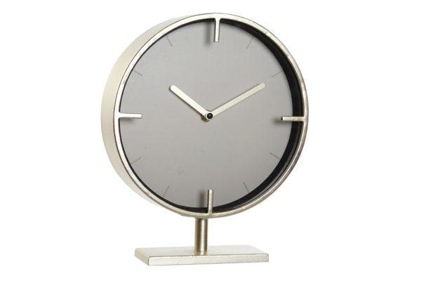 Reloj con base sobremesa metal dorado mate