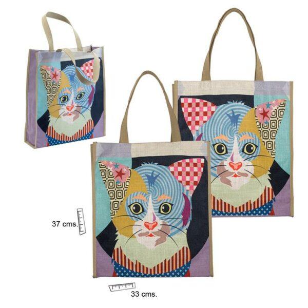 Bolsa de lino con estampado de perro o gato de colores. Gato