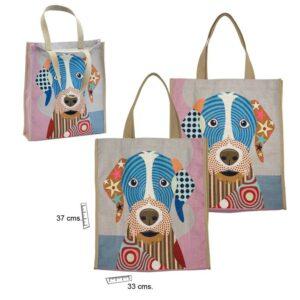 Bolsa de lino con estampado de perro o gato de colores. Perro