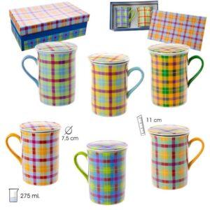 Set de dos mug de té en porcelana con cuadros de colores