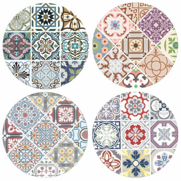 Salvamantel de cerámica hidráulico y redondo. Cuatro versiones