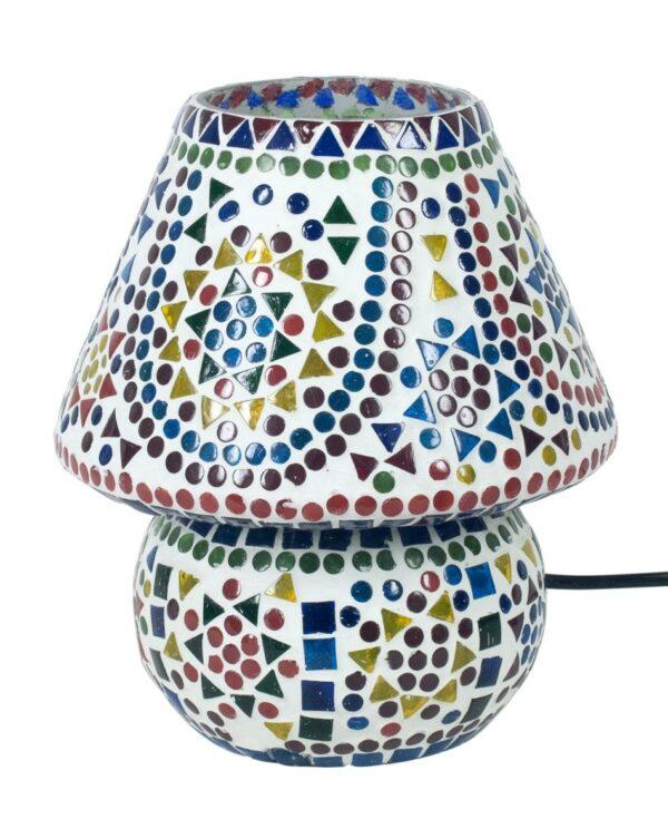 Lámpara mediana con mosaico de cristales de colores. Soles, apagada