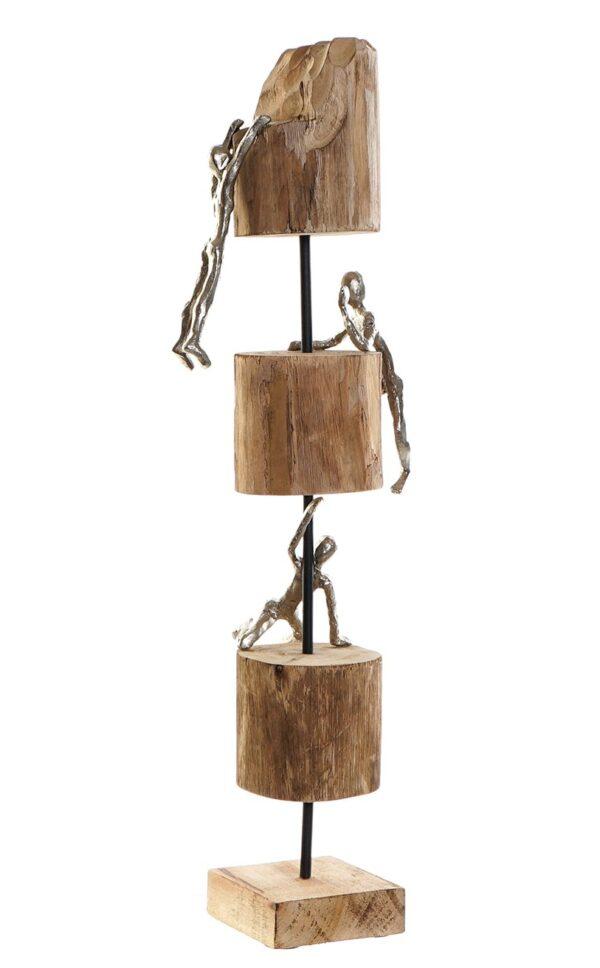 Escultura de escaladores en madera y aluminio