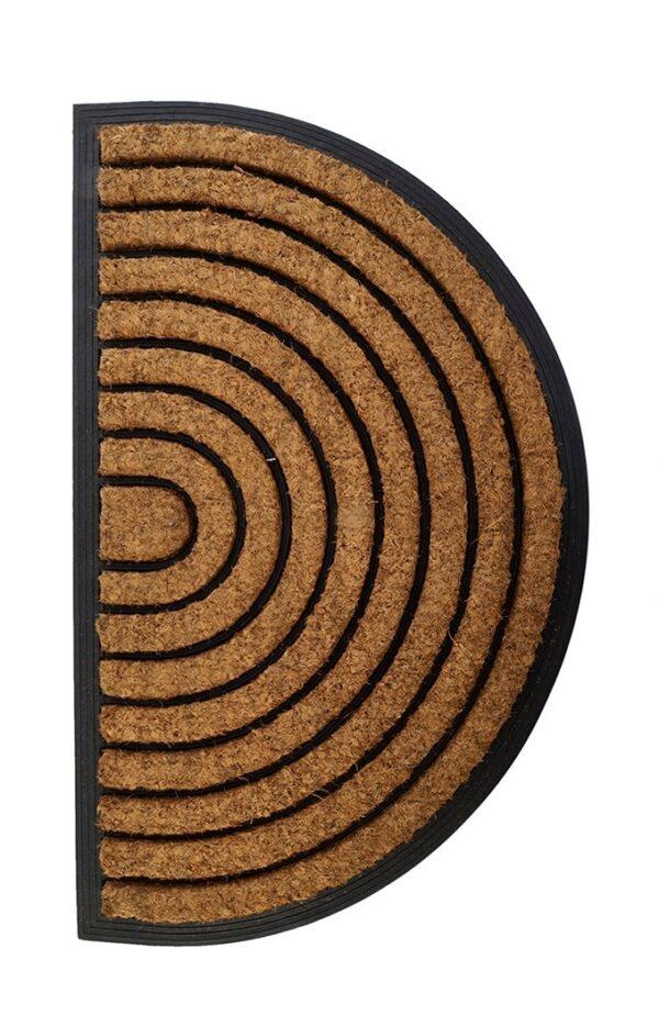 Felpudo semicircular de caucho con fibra de coco. Arcoiris