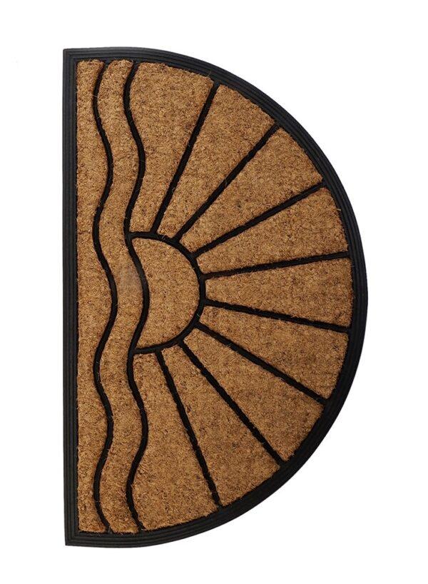 Felpudo semicircular de caucho con fibra de coco. Sol