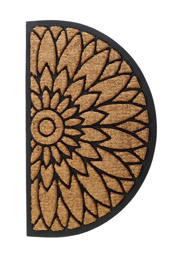 Felpudo semicircular de caucho con fibra de coco. Flor