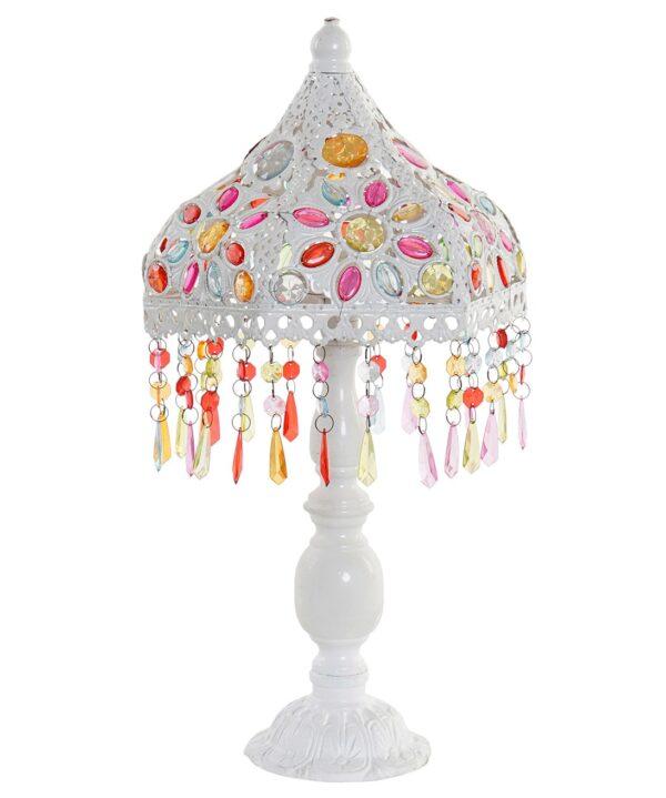 Lámpara metálica en blanco con lágrimas transparentes de colores