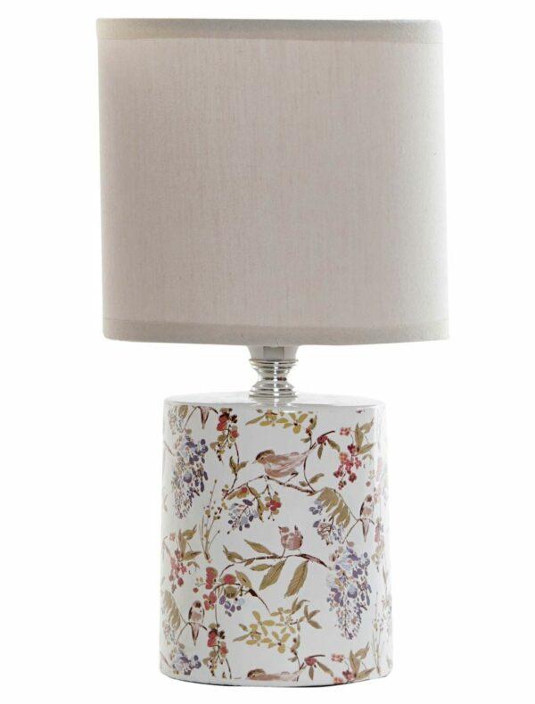 Pequeña lámpara para sobremesa realizada en gres con dibujos. Con tulipa tostada clara