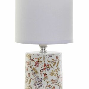 Pequeña lámpara para sobremesa realizada en gres con dibujos. Con tulipa blanca