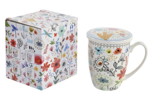 Mug para té de porcelana blanca con dibujos de flores