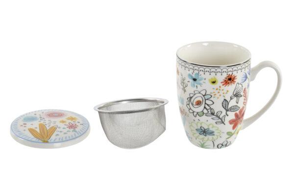 Mug para té de porcelana blanca con dibujos de flores. Despiece