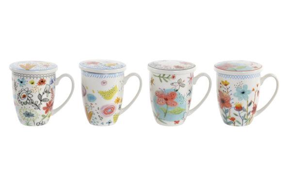 Mug para té de porcelana blanca con dibujos de flores. Diferentes versiones