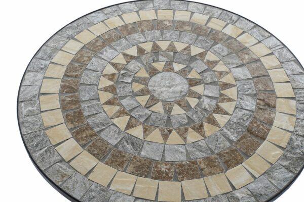 Mesa para exterior de forja y mosaico en piedra. Sol triángulos