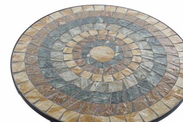 Mesa para exterior de forja y mosaico en piedra. Sol cuadros