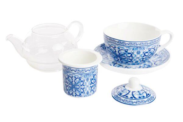 Set tetera cristal de porcelana blanca y dibujos arabes. Detalle del despiece